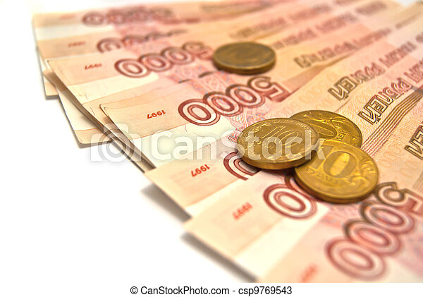 Russian banknotes and coins - csp9769543