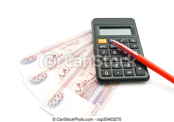 Russian banknotes, pen and calculator - csp33403270