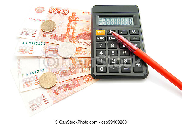 Russian banknotes, red pen, coins and calculator - csp33403260