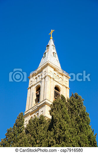 Russian Candle - the highest belfry in Jerusalem - csp7916580