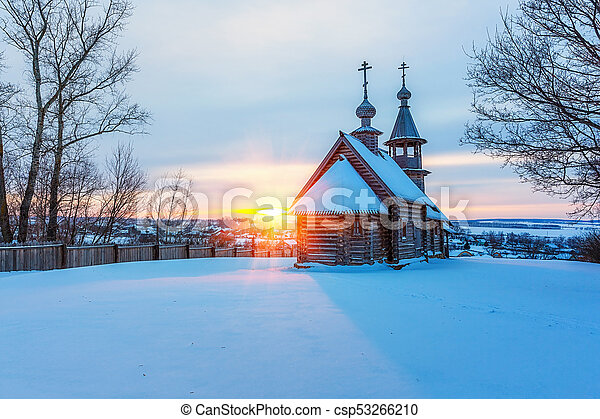 Russian church in winter forest - csp53266210