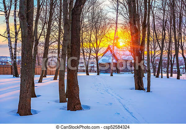 Russian church in winter forest - csp52584324