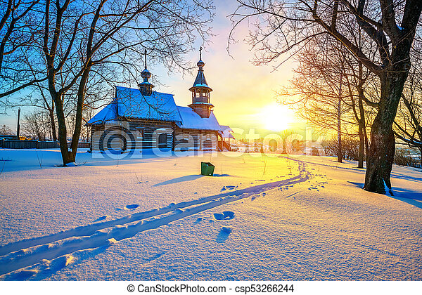 Russian church in winter forest - csp53266244