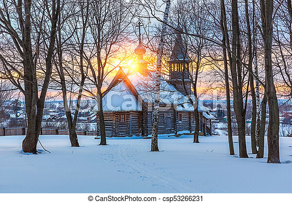 Russian church in winter forest - csp53266231