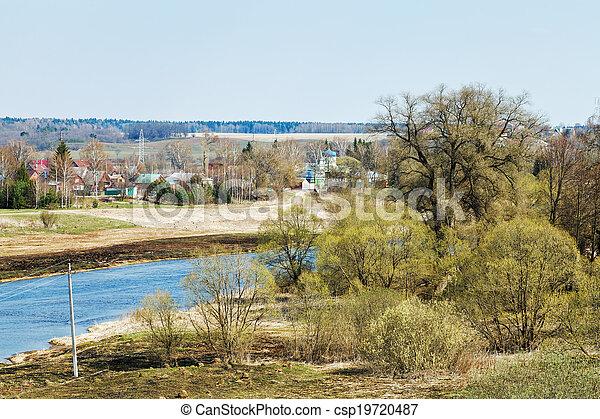 russian church, village, Moskva River in Mozhaysk - csp19720487
