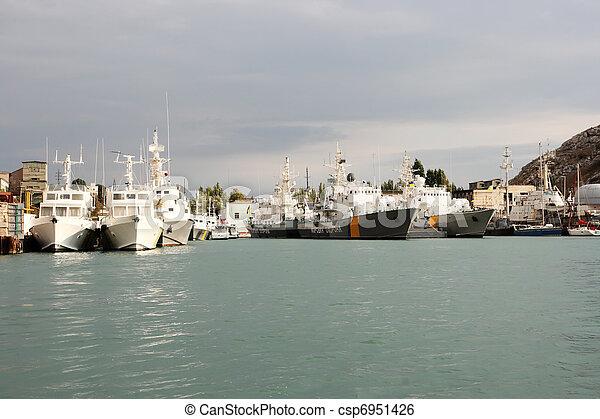 Russian coast guard ships in the port of Sevastopol - csp6951426