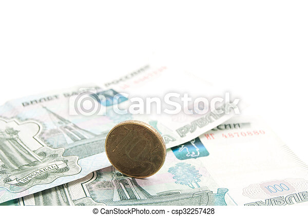 Russian coins and banknotes - csp32257428
