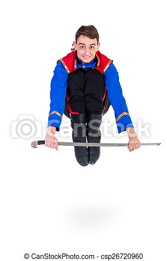 885249071 Russian cossack dance. Young dancer jumping over a sword - csp26720960