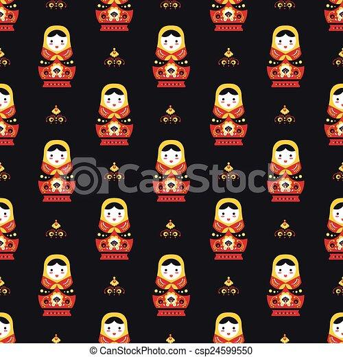 russian doll matreoshka seamless pattern - csp24599550