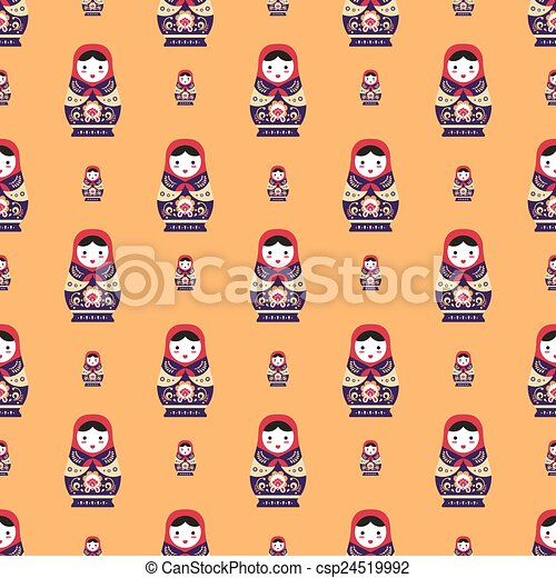 russian doll matreshka seamless pattern - csp24519992