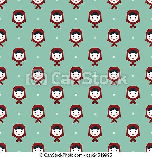 russian doll matreshka seamless pattern - csp24519995