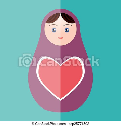 Russian doll matryoshka with heart on teal background. Vector - csp25771802