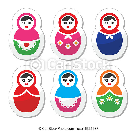 Russian doll, retro babushka icons - csp16381637