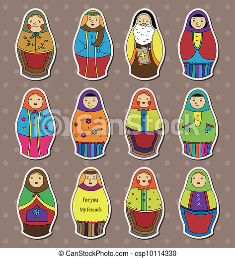 Russian dolls stickers - csp10114330