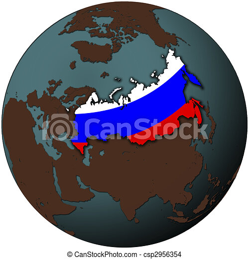Russian federation flag russia flag on map of earth globe russian federation flag csp2956354 gumiabroncs Images