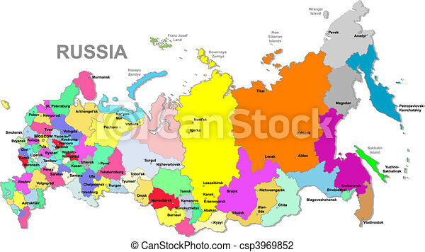 Russian federation map Color russia map over white vector