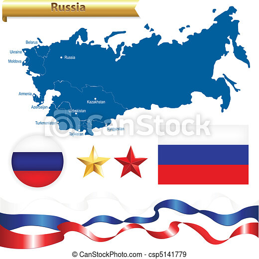 Russian Federation Set Russia Map Cis Commonwealth Of