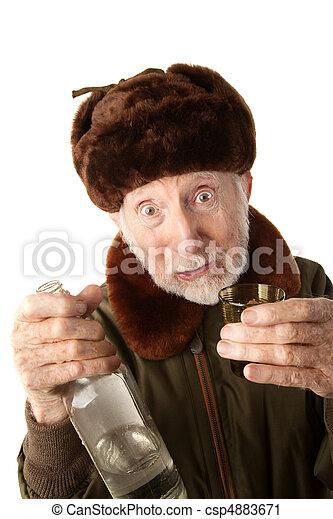 Russian Man in Fur Cap with Vodka - csp4883671