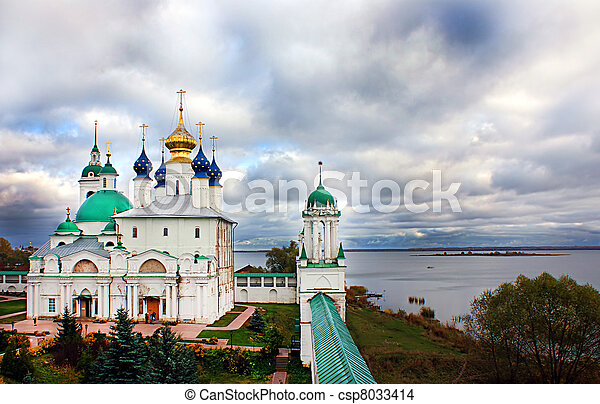 Russian monastery in Rostov on the  - csp8033414