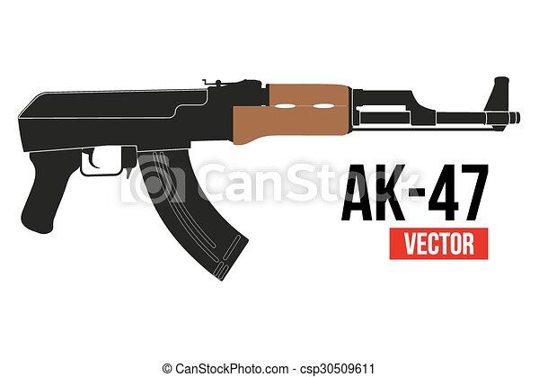 russian rifle ak47 russian automatic machine rifle ak 47 in flat rh canstockphoto com Glock Clip Art AK-47 Silhouette