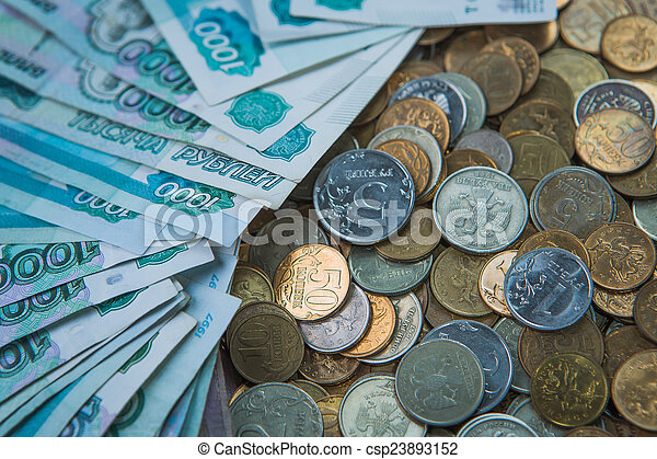 Russian rouble bills composition, different banknotes and coins - csp23893152