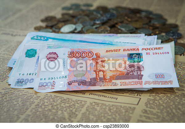Russian rouble bills composition, different banknotes - csp23893000