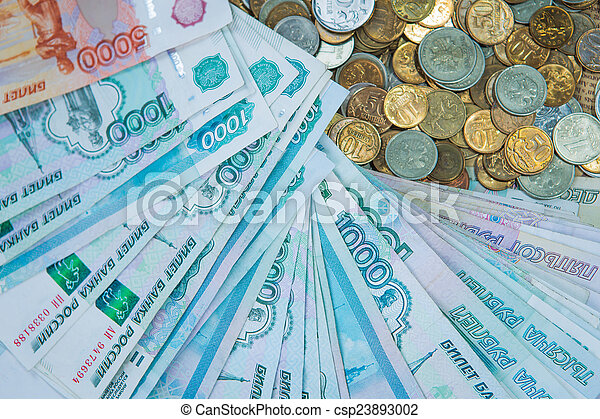 Russian rouble bills composition, different banknotes and coins - csp23893002