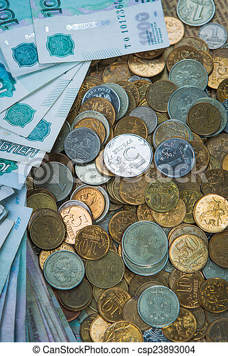 Russian rouble bills composition, different banknotes and coins - csp23893004