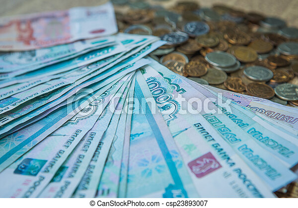 Russian rouble bills composition, different banknotes and coins - csp23893007