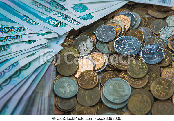 Russian rouble bills composition, different banknotes and coins - csp23893008