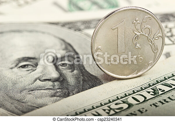 Russian ruble against the background of dollars - csp23240341