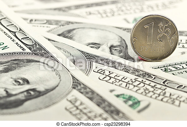 Russian ruble against the background of dollars - csp23298394