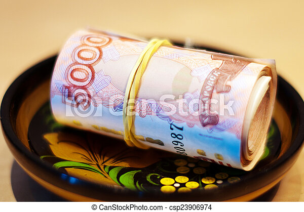 Russian Ruble, khokhloma - csp23906974