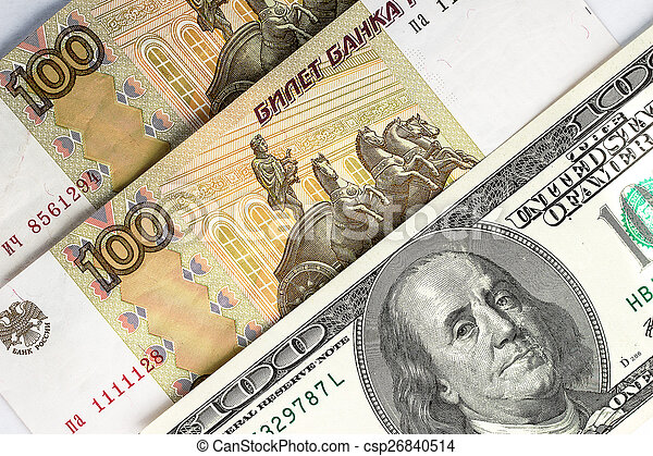 Russian rubles and US dollars as background - csp26840514
