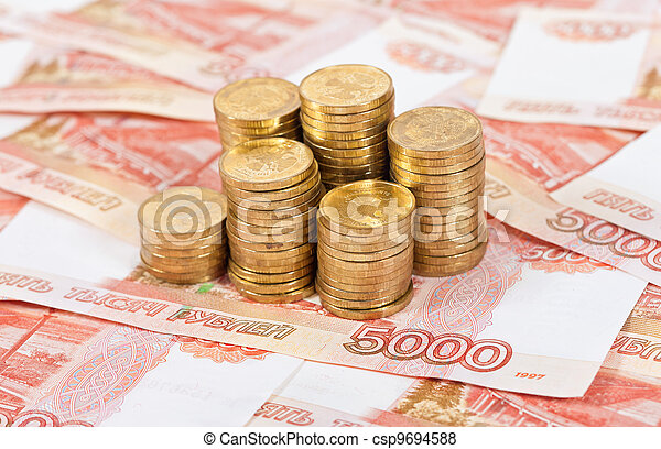 Russian rubles banknotes and coins. - csp9694588