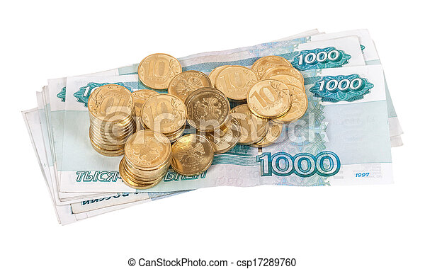 Russian rubles banknotes and coins - csp17289760
