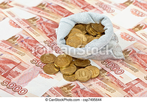 Russian rubles banknotes and coins. - csp7495644