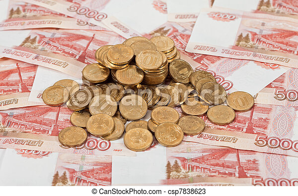Russian rubles banknotes and coins. - csp7838623