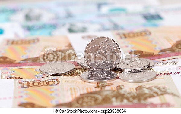 Russian rubles coins and banknotes close up - csp23358066