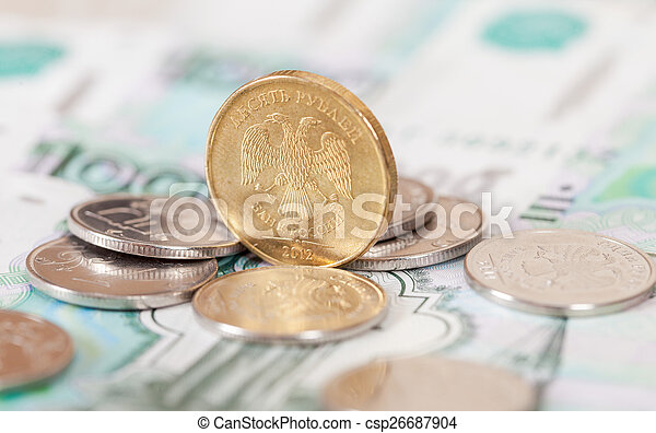 Russian rubles coins and banknotes close up - csp26687904