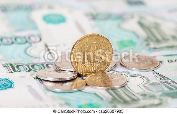Russian rubles coins and banknotes close up - csp26687905