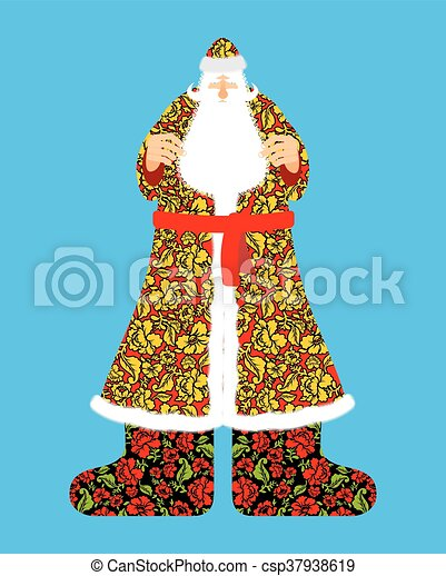 russian santa claus grandfather frost cloak in traditional
