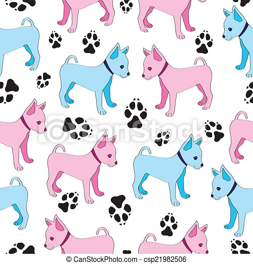 Russian Toy Terrier, seamless pattern with dogs. - csp21982506