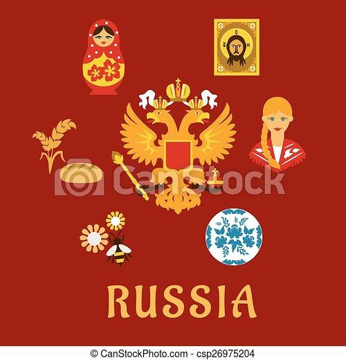 russian traditional national flat symbols csp26975204