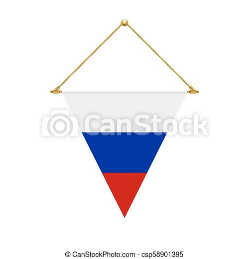 Russian triangle flag hanging, vector illustration