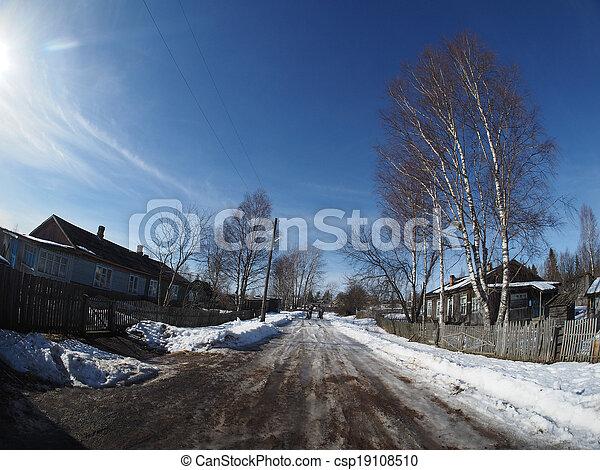 Russian village in winter - csp19108510