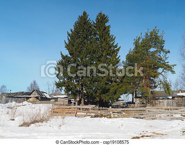 Russian village in winter - csp19108575