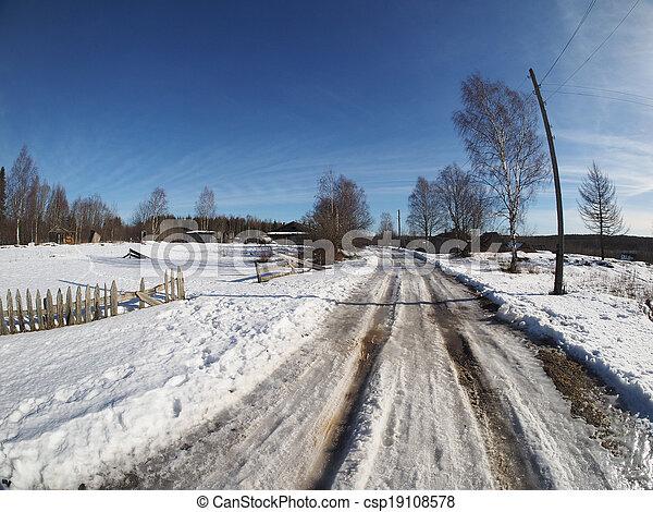 Russian village in winter - csp19108578