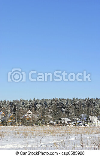 russian village in winter - csp0585928