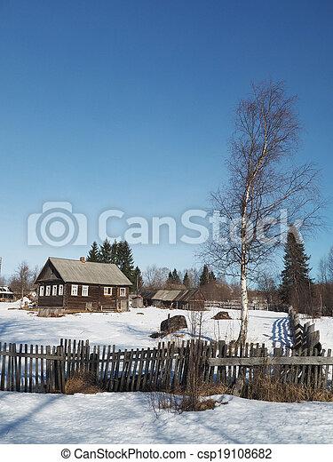 Russian village in winter - csp19108682